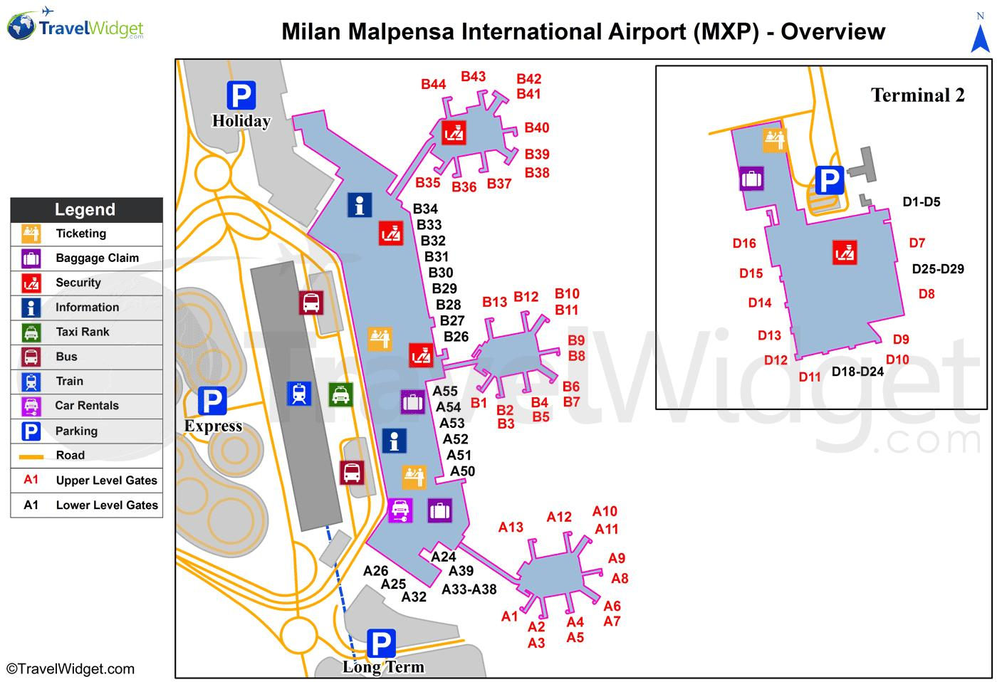 Malpensa Airport Map Malpensa airport map train station   Map of milan airports and