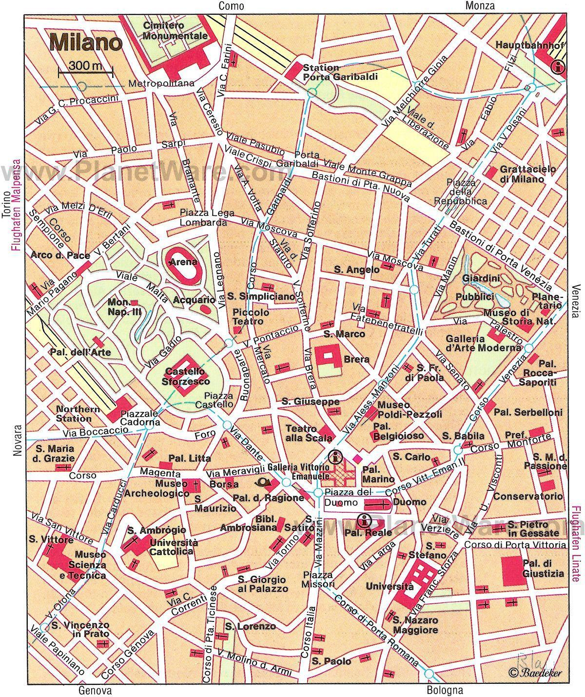 milan italy map tourist