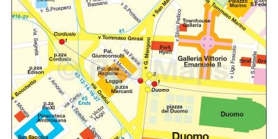 Map of milan shopping street